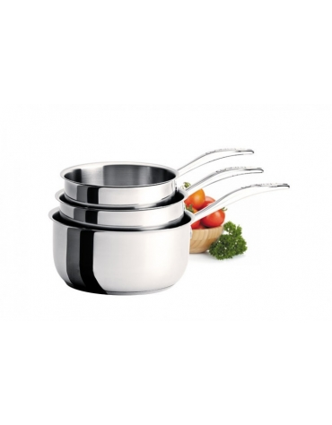 COOKWAY MASTER - SET OF 3 STAINLESS STEEL SAUCEPANS 16 - 18 AND 20 CM